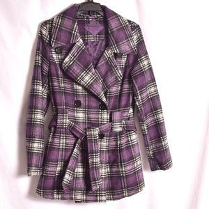 Jou Jou Purple Plaid Double Breasted Pea Coat